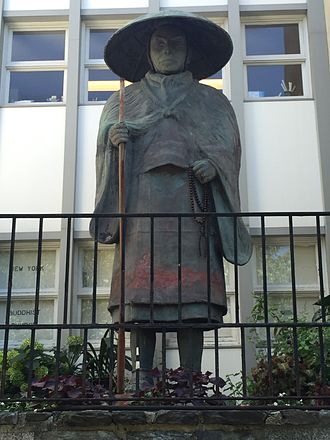 Shinran - Statue of Shinran Shonin, Riverside Drive, New York. A survivor of the bombing at Hiroshima, the statue was brought to New York in 1955