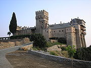 Stavronikita monastery, a Greek Orthodox monastery in Athos peninsula, northern Greece.