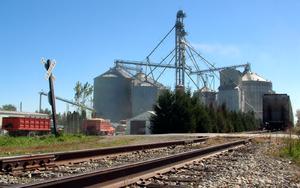 Stewart, Indiana - The grain elevators at harvest time, October 2006