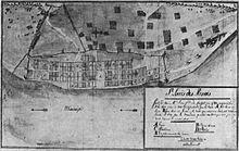 Dibujo de la cuadrícula de calles de St. Louis de la década de 1780 que muestra el río y un pequeño pueblo