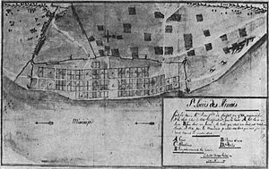 St. Louis - A map of St. Louis, Illinois in 1780. From the archives in Seville, Spain