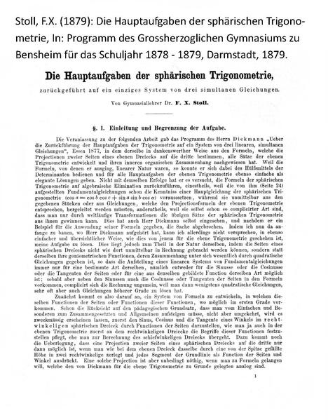 File:Stoll Franz Xaver 1879 Die Hauptaufgaben der sphaerischen Trigonometrie Programm Grossherzogliches Gymnasium zu Benheim.pdf