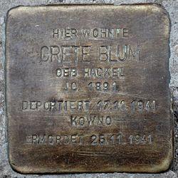 Photo of Grete Blum brass plaque