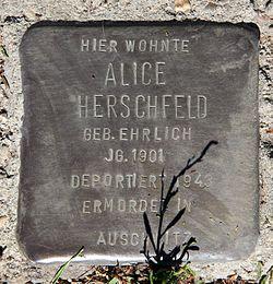 Photo of Alice Herschfeld brass plaque
