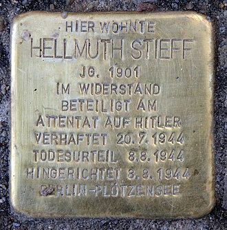 Hellmuth Stieff - Commemorative plaque dedicated to Stieff on the wall of a Berlin building where he once lived.