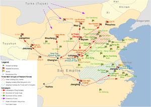 Transition from Sui to Tang - Map showing major uprisings and rebellions in the last years of Sui dynasty.