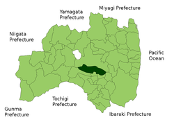 Location of Sukagawa City in  استان فوکوشیما
