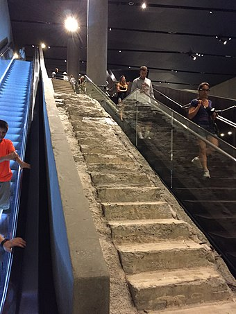 The Survivors' Staircase, the first artifact placed inside the museum Survivors Staircase 2015 3 vc.jpg