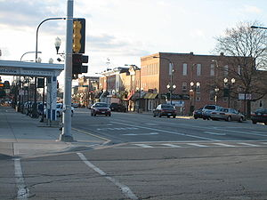Sycamore, Illinois - Downtown Sycamore - Looking west from State Street and Main Street.