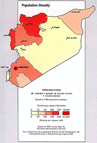 Demographics of Syria - Population density, 1993