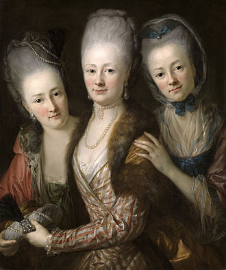 "Anton Graff - Portrait of the daughters of Johann Julius von Vieth und Golssenau (1713–1784) and his wife Johanna Juliane, née Krieg von Bellicken (painted around 1775). Von Vieth und Golssenau was a nobleman at the princely court of Saxony. This painting was sold at Christie's in London on 11 December 2002 as lot 75 in the auction 6652 ""Old Master Pictures"" for £111.150."