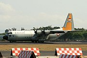 TNI-AU (Indonesian Air Force) Lockheed C-130H-30 Hercules serial number A-1317 lands at Yogyakarta's Adisucipto International Airport