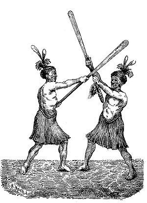 Taiaha - Two Māori men wielding taiaha.