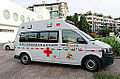 Taipei City Fire Department VW T5 Ambulance No.56 Ciyou Parked in Front of Yuchen Swimming Pool 20140817.jpg