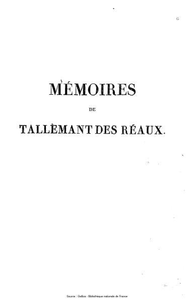 File:Tallemant des Réaux - Les historiettes, tome 1.djvu