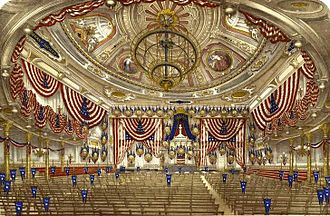 1868 Democratic National Convention - Illustration showing Tammany Hall decorated for the convention