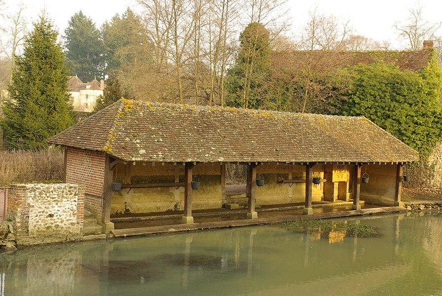 Tannerre-en-Puisaye Lavoir inondable le long du Branlin. Du pont de la rue Saint-Blaise, vue vers l'amont.