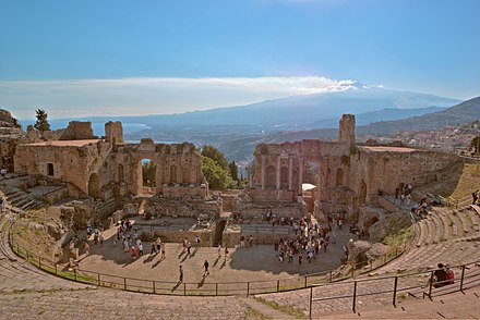Greek theatre in Taormina, Sicily, Italy