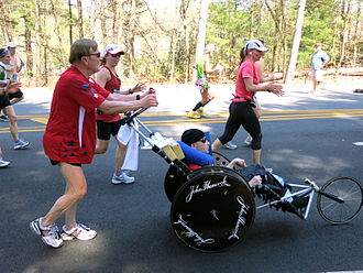 Boston Marathon - Image: Team Hoyt April 16, 2012