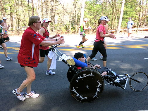 Team Hoyt at ~12.8 miles on the Marathon course on April 16, 2012