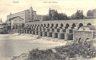 Ahmad I ibn Mustafa - Building and bridge at El Battan on the river Medjerda, near Tebourba, which powered the water-wheels for the industrial textile works