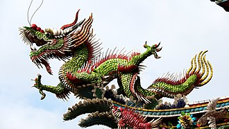 "The dragon is one of the oldest symbols of Chinese religious culture. It symbolises the supreme godhead, Di or Tian, at the north ecliptic pole, around which it coils itself as the homonymous constellation. It is a symbol of the ""protean"" supreme power which has in itself both yin and yang. Temple rooftop dragon in Taiwan (1).jpg"