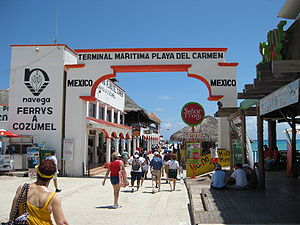 Playa del Carmen - Tourists entering Playa del Carmen's ferry terminal