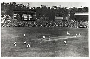 English cricket team in Australia in 1928–29 - Larwood bowling to Beckett at 6-342 in Australia's first innings in the Third Test at Melbourne.