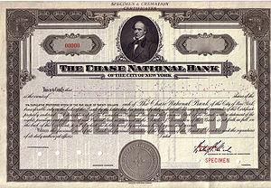 Chase Bank - Specimen Stock Certificate