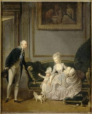 Charles Lepeintre - Charles Lepeintre, The future Philippe Égalité with his wife and son at the Palais Royal, 1774