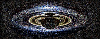 """The Day the Earth Smiled - The photomosaic from NASA's """"Wave at Saturn"""" campaign. The collage includes some 1,600 photos taken by members of the public on the Day the Earth Smiled."""