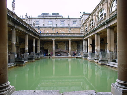 Aquae Sulis in Bath, England: architectural features above the level of the pillar bases are a later reconstruction. The Great Bath in Bath (UK).jpg