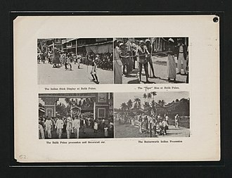 """Malaysians of Indian descent in Penang - A display of Silambam, the Indian stick fighting (top left), a demonstration by """"Tiger"""" Man (top right), and Indian procession (bottom left and right) in Balik Pulau, Penang, 1937."""