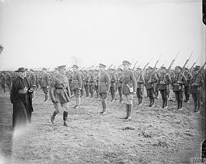 Royal Dublin Fusiliers - Cardinal Francis Bourne, the Head of the Catholic Church in England and Wales, and Major-General William Hickie, the Commander of the 16th Irish Division, inspecting troops of the 8/9th Battalion, Royal Dublin Fusiliers (48th Brigade, 16th Division) at Ervillers, 27 October 1917 (IWM Q6153)