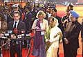 The President of France, Mr. Nicolas Sarkozy, the President, Smt. Pratibha Devisingh Patil and the Prime Minister, Dr. Manmohan Singh interacting with media at the ceremonial reception, in New Delhi on January 25, 2008.jpg