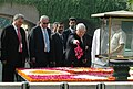 The President of Palestine, Mr. Mahmoud Abbas paying floral tributes at the Samadhi of Mahatma Gandhi at Rajghat, in Delhi on October 07, 2008.jpg