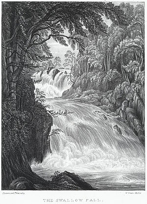 Swallow Falls - The Swallow Fall by Crane, W., ca. 1840