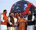 The Union Home Minister, Shri Rajnath Singh and the Chief Minister, Uttar Pradesh, Yogi Adityanath lighting the lamp during the inauguration of Lucknow Metro Rail,.jpg