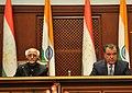 The Vice President, Shri Mohd. Hamid Ansari and the President of the Republic of Tajikistan, Mr. Emomali Rahmon, at a joint press statement, at Dushanbe, in Tajikistan on April 15, 2013.jpg