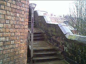 Chester city walls - The Wishing steps in the south east corner of the city walls.