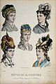 The heads of five women with their hair combed back and dres Wellcome V0019887EL.jpg