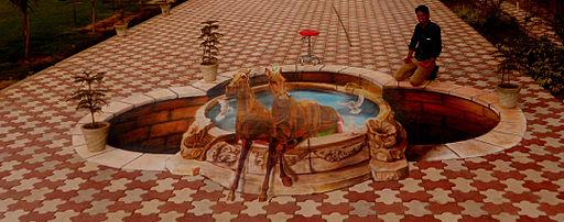 3d street painting india an older 3d art on floor of a for 3d mural art in india