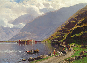 Landscape painting - Themistokles von Eckenbrecher (German, 1842–1921), View of Lærdalsøyri, on the Sognefjord, 1901