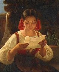 Italian woman reading a Letter