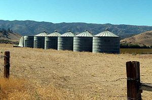 Grain silos south of the Three Points settlement, Three-Points-Tanks.jpg