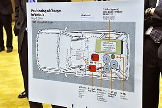 Pressure cooker bomb - Justice Department diagram showing positioning of pressure cooker in Faisal Shahzad's vehicle in New York's Times Square bombing