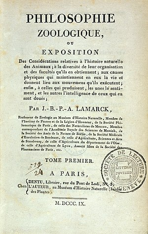 Philosophie Zoologique - Title page of first edition, 1809