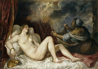 Danaë (Titian series) - Danaë with Nursemaid or Danaë Receiving the Golden Rain, 1560s. 129 cm × 180 cm. Museo del Prado, Madrid