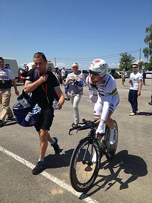 2013 Critérium du Dauphiné - Image: Tony Martin, quelques minutes après son clm victorieux