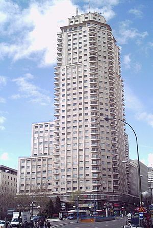 "Spanish miracle - The 142m high Torre de Madrid, built in 1957, heralded the ""Spanish Miracle""."